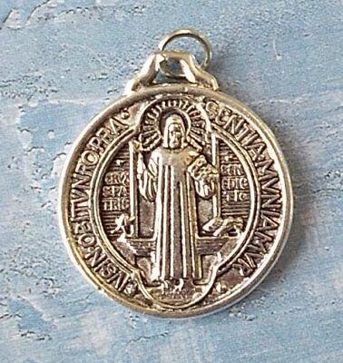 Medalla De San Benito ~ St Benedict ~ Round Silver tone OX Jubilee 1