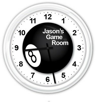 Eight Ball PERSONALIZED SILENT Wall Clock - Pool Table Office Bedroom GREAT GIFT for sale  Shipping to India