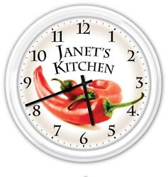 Chili Pepper Kitchen PERSONALIZED Silent Wall Clock Chile Chef Cook GREAT GIFT