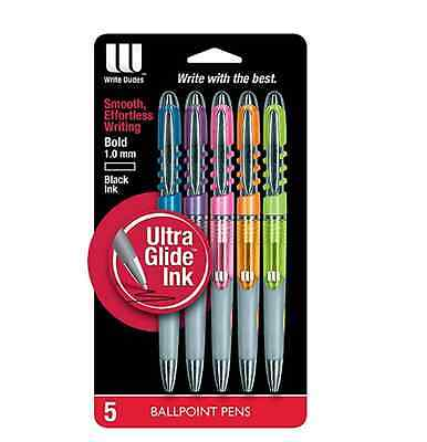 Write Dudes Swirl Click Retractable Ballpoint Pens 5-count Assorted Barre... New