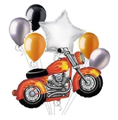 7 Pce Motorcycle Balloon Bouquet Set Harley Snarley Birthday Party Decoration B - Motorcycle Birthday Party Supplies