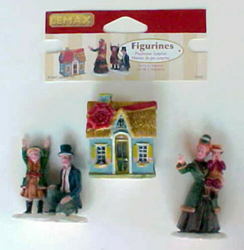 New 2007 Lemax Christmas Village Playhouse Surprise 72402 Retired 3 pc set Doll