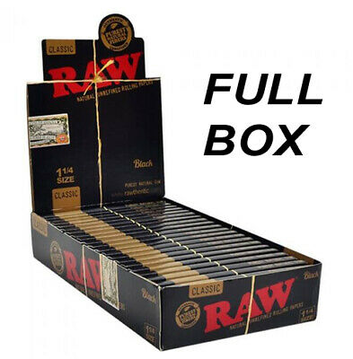 1x FULL BOX RAW Black Natural Hemp Unrefined Rolling Papers 1¼