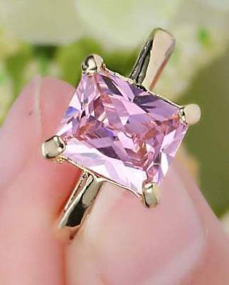 (Pink Sapphire Solitaire HOPE Ring PRINCESS Cut 10KT Yellow Gold Size 6 US SELLER)