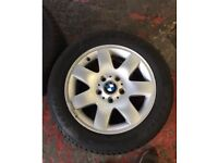 "2x Genuine BMW E46 16"" wheels with good tyres"