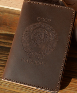 Genuine leather cover with Soviet Union national emblem