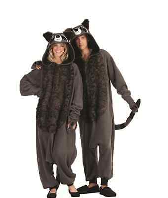 ROCKY RACCOON ADULT MENS COSTUME RACOON ANIMAL PAJAMAS BLACK GREY FUNSIE