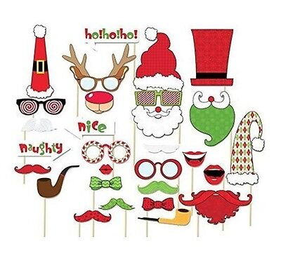 NEW 29PCS Christmas Photo Booth Props Lips Deer Moustache On A Stick For Party  (Christmas Props For Photo Booth)