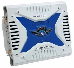 Pyle Marine Audio PLMRA420 Elite Series Waterproof Amplifier, Bridgeable 1000 Watt 4-Channel Amp