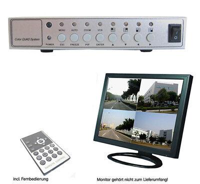 4 CH Kanal Quad Prozessor Multiplexer Bildteiler Splitter Überwachungskamera