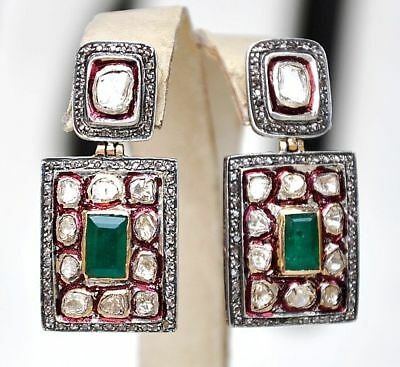 14KT VINTAGE 5 CARATS EMERALD DIAMOND MUGHAL VICTORIAN EARRINGS