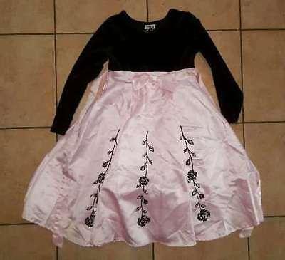 ZOEY GIRL Fancy Dress Girl's Size 6 Crushed Velvet Black & Pink Beaded (Velvet Dress Girl)