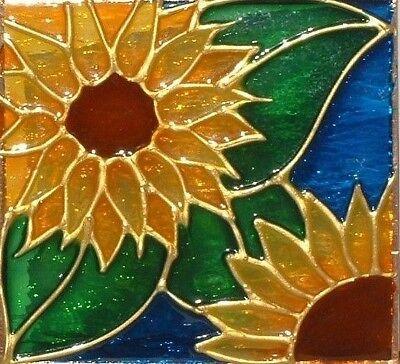 Sunflower Night Light Wall Plug In Decorative Sun Flower Stained Art Glass Gift ()