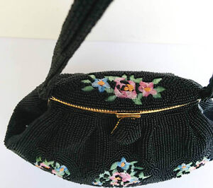 Lovely Evening Purse Black Beaded with embroided Roses West Island Greater Montréal image 3