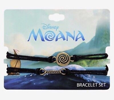 Disney Moana Way Finding Burnished Gold Tone Charms Cord Bracelet Set NWT!