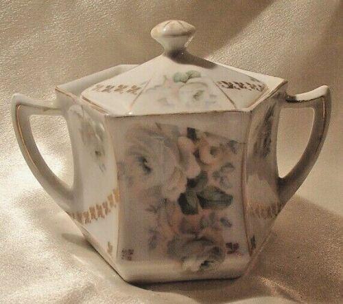 Carl Schlegelmilch C.S. Prussia Rose Garland Covered Sugar Bowl 1882-1918 EUC