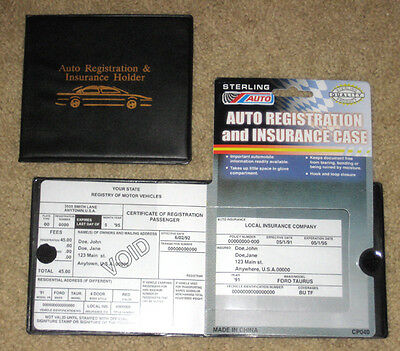 1 Auto Car Truck Vehicle Registration & Insurance ID Holder Case Wallet Folder