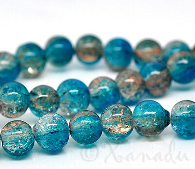 Teal Coffee Wholesale 8Mm Round Crackle Glass Beads G2228   50  100 Or 200Pcs