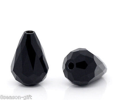 Wholesale Black Crystal Glass Faceted Teardrop Beads 11x8mm
