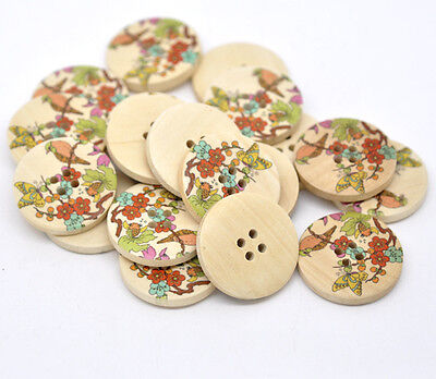 10 Exquisite Japanese Style Painted Wooden Buttons 30mm Free UK postage offer