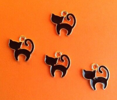 TINY ENAMEL BLACK CAT CHARMS - HALLOWEEN, JEWELRY, CRAFTS -- 10mm -- 4pcs