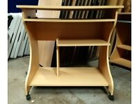Computer desk on wheels with pull out work shelf,