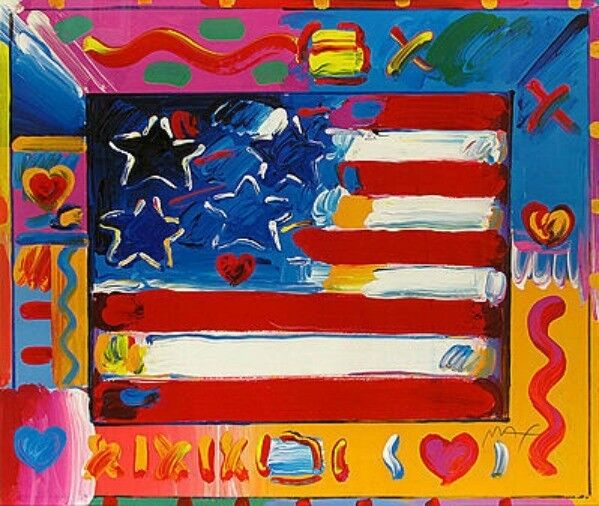 "Peter Max    ""flag With Heart Ii""    Make  Offer    Dsstd"