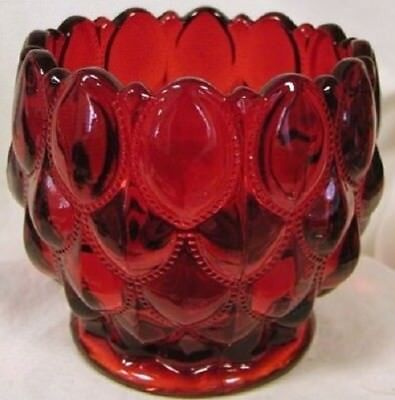 Candy Dish Rose Bowl - Elizabeth Quilted - Mosser USA - Red Glass Glass Candy Dish Bowl