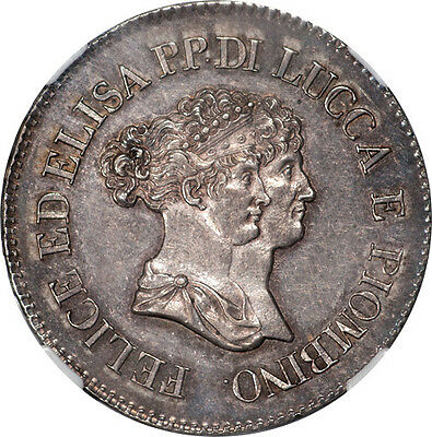 Italy Lucca & Piombino 1805 Silver 5 Franchi NGC AU-58