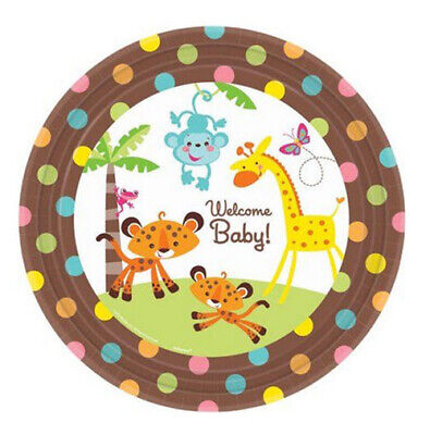 Fisher Price Animals of Rainforest dessert/cake PAPER PLATES 8pcs  BABY - Fisher Price Baby Shower Decorations