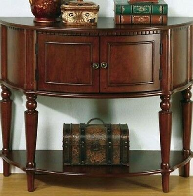Hall Console Cabinet - Hall Entry Way Table Storage Cabinet  Antique Half Console Foyer Wood Furniture