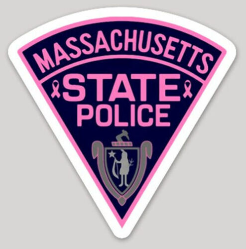 3 Inch Non-Reflective Pink Massachusetts State Police Logo Sticker Decal