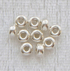 10 x 4mm Sterling Silver Plain Rondelle/Donut Flat Seamless Spacer Beads