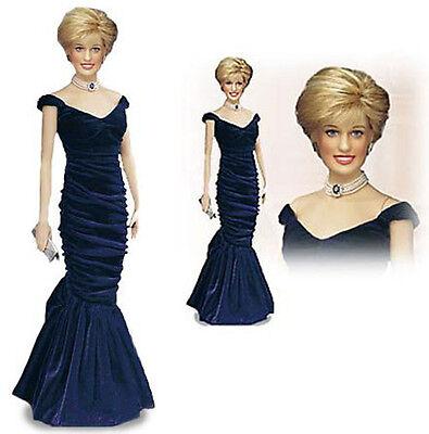 Franklin Mint Princess Diana Portrait Doll, Edelstein Design Ink Blue Gown NIB