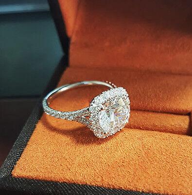 2.15 Ct Halo Round Cut Diamond U-Set Split Shank Engagement Ring H,VVS1 GIA 18K 1