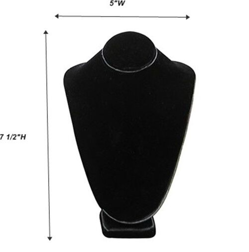 """Black Necklace Pendant Chain Display Bust  5""""W x 4 1/8""""D x 7 1/2""""H"""