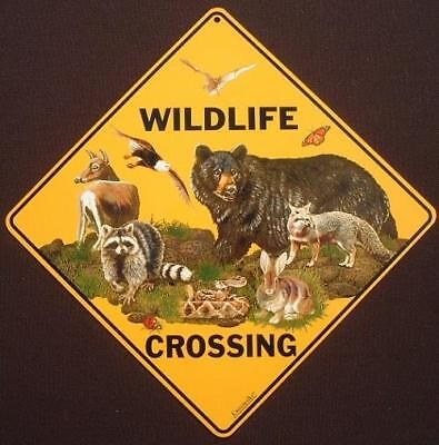 WILDLIFE CROSSING Sign  16 1/2 by 16 1/2 NEW animals bear decor  novelty signs