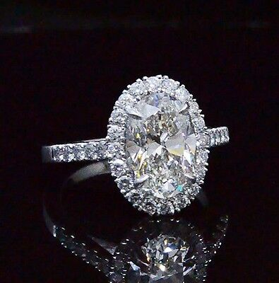 1.65 Ct Halo Oval Brilliant Cut Round Pave Diamond Engagement Ring GIA G,SI2 14K 1