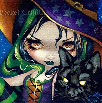 Faces of Faery 114 Jasmine Becket-Griffith art CANVAS PRINT Halloween Witch cat (Jasmine Halloween Cat)