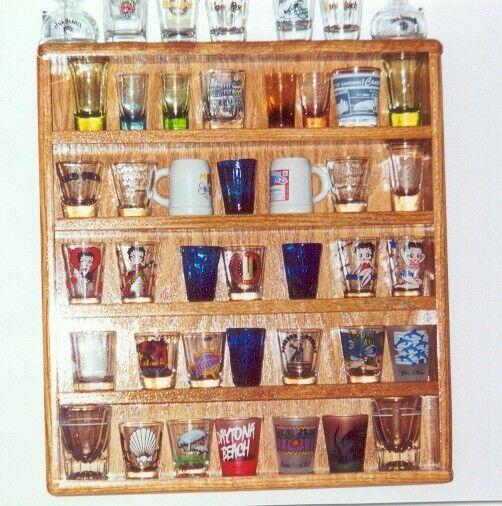 oak 35 shot glass display  plexi front barware bar