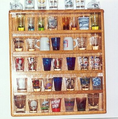 - oak 35 shot glass display shelf case   plexi front acrylic showcase 1a1