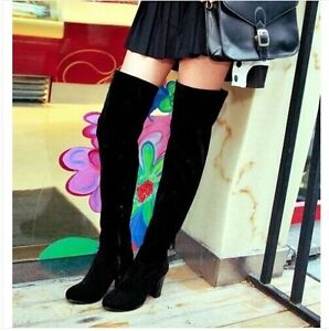 womens faux suede block heel knee thigh high boots
