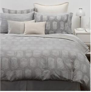 CALVIN KLEIN TORTOISE Etched PLATINUM Silver GRAY QUEEN DUVET COVER SET~3PC