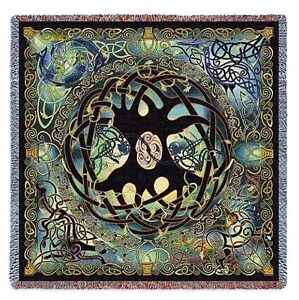 CELTIC TREE OF LIFE ABSTRACT ART TAPESTRY THROW AFGHAN BLANKET