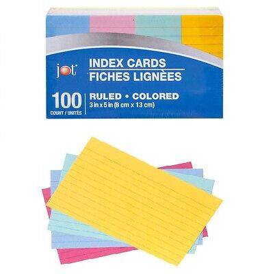 Color Coded Bar Ruled Index Cards 3 X 5 Assorted Colors 100pack 1 Jot