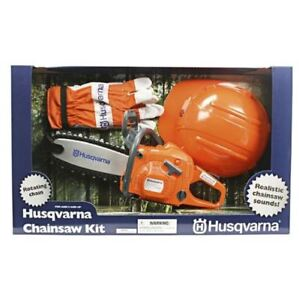 HUSQVARNA TOY CHAINSAW KIT ROTATING CHAIN CHAINSAW/GLOVES/FORESTRY HELMET