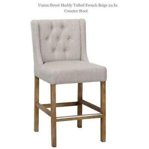 UNION STREET MADDY TUFTED FRENCH BEIGE 24 IN. COUNTER STOOL