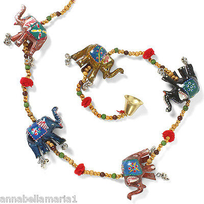 SIESTA fairTRADE string ELEPHANTS & bell HANGING mobile DECORATION ethnic INDIAN