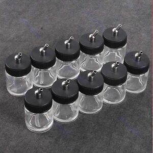 10PCS-Airbrush-Air-Brush-Glass-Bottle-Jar-w-Standard-Suction-Lid-Pump-Spray-Top