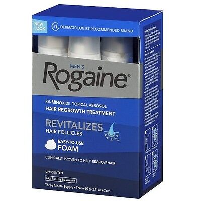 Rogaine Hair Regrowth Men 5% Minoxidil Topical Foam 3 month exp 06/2018